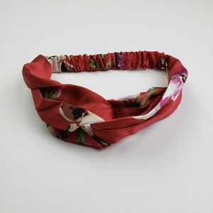 SALE! Wide Red Floral Print Turban Style Headband